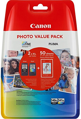 Canon PG- 540XL/CL- 541XL High Yield Ink Cartridge + Photo Paper Value Pack